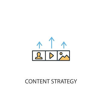 Content strategy concept 2 colored line icon. simple yellow and blue element illustration. content strategy concept outline symbol design