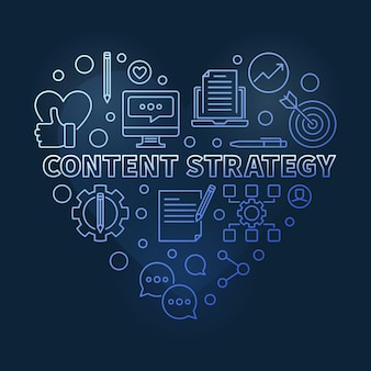 Content strategy concept linear blue heart illustration