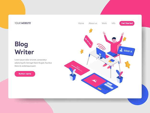 Content writer illustration for web pages