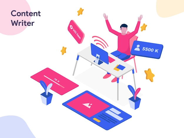 Content writer isometric illustration