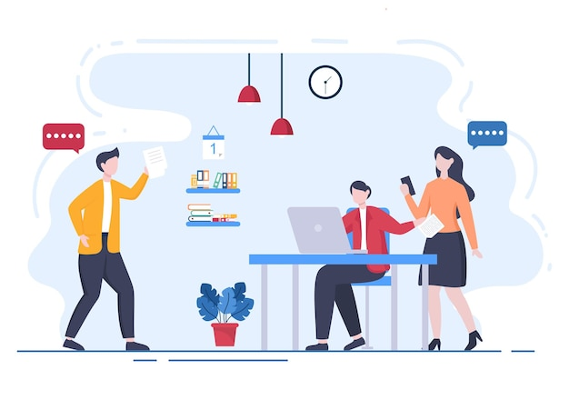 Content writer or journalist background vector illustration for copy writing, research, development idea and novel or book script in flat style