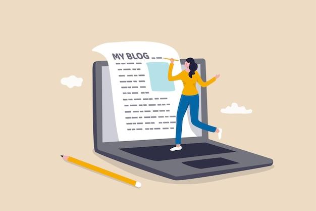 Автор контента или блоггер, начать новый блог, писать статью в интернете или журналистику, рассказывать истории и концепция социального маркетинга, творческая молодая женщина, пишущая блог на бумаге с портативного компьютера в интернете.
