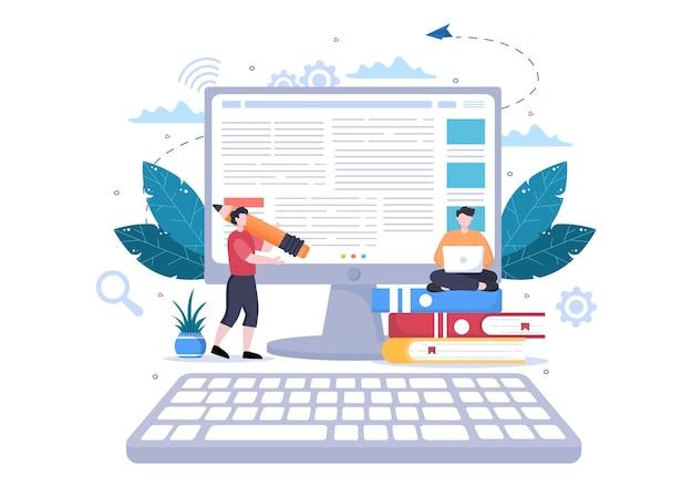 콘텐츠 작가 또는 기자 배경 벡터 일러스트 레이 션 복사 쓰기, 연구, 개발 아이디어 및 평면 스타일의 소설 또는 책 스크립트