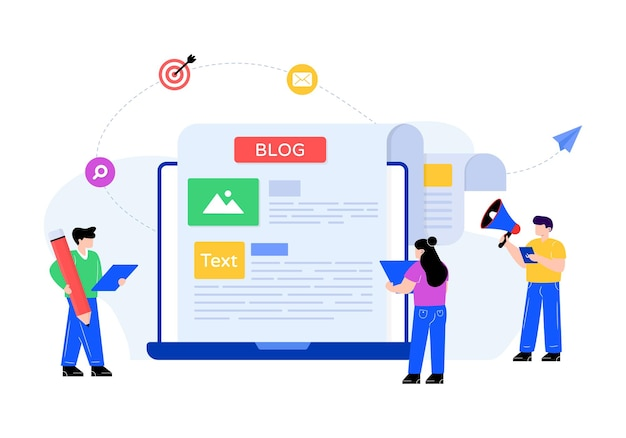 Content writing blogging in flat style