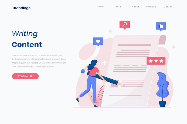 Content writing illustration landing page.