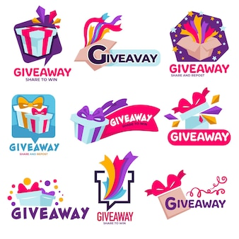 Contest for followers or subscribers, isolated giveaway banners with presents and festive confetti or ribbons. quiz or reward for random winner, promotion of social media or products, vector