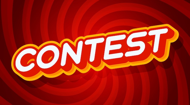 Contest red and yellow text effect template with 3d type style