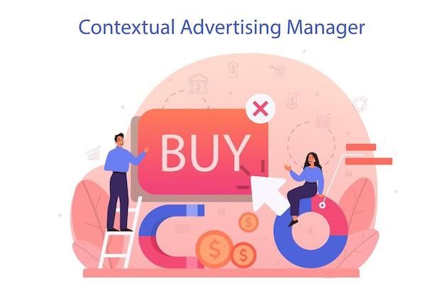문맥 광고 및 타겟팅 개념. 마케팅 캠페인 및 소셜 네트워크 광고. 상업 광고 및 고객 아이디어와의 커뮤니케이션.