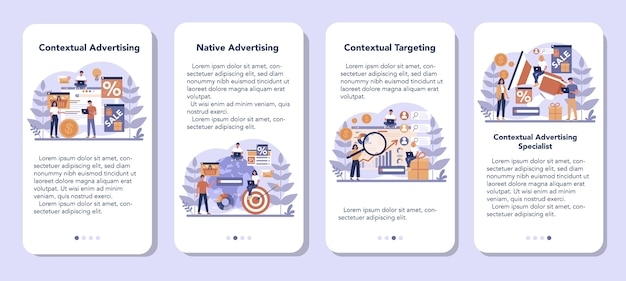 モバイルアプリケーションのバナーセットのコンテンツターゲット広告とターゲティング。マーケティングキャンペーンとソーシャルネットワーク広告。商業広告と顧客とのコミュニケーション。ベクトルイラスト