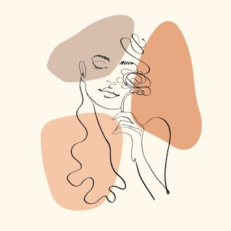 Continious line art woman with flower illustration
