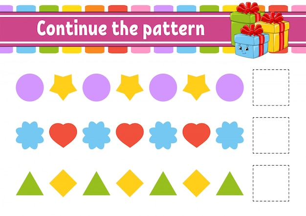 Continue the pattern. education developing worksheet. game for kids. activity page.