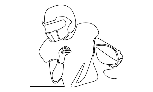 Continuous line of american football player illustration