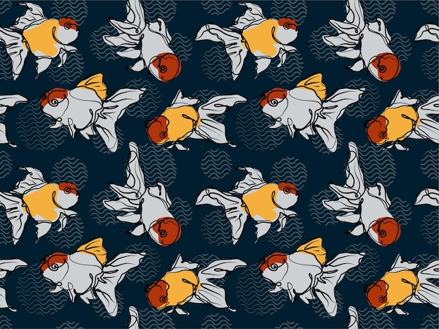 Continuous line art goldfish seamless pattern