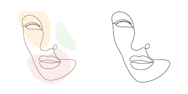 Лицо женщины искусства непрерывной линии с абстрактными формами. элегантный минималистичный портрет