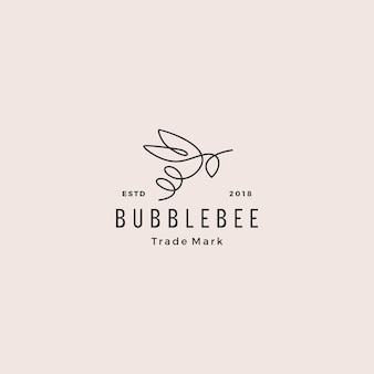 Continuous line bee logo hipster retro vintage