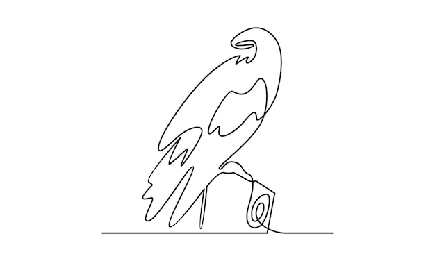 Continuous line of bird illustration