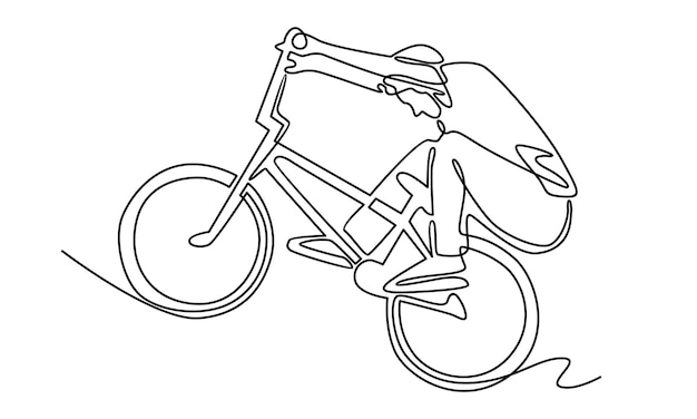 Continuous line of boy with bicycle illustration