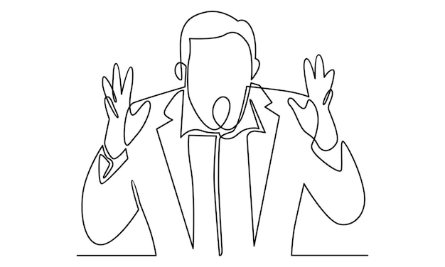 Continuous line of businessman with shocked expression illustration