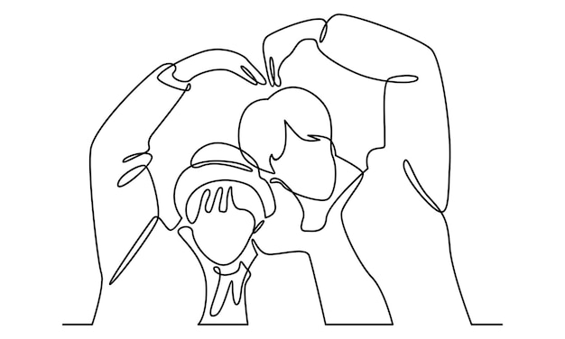 Continuous line of couple in love illustration