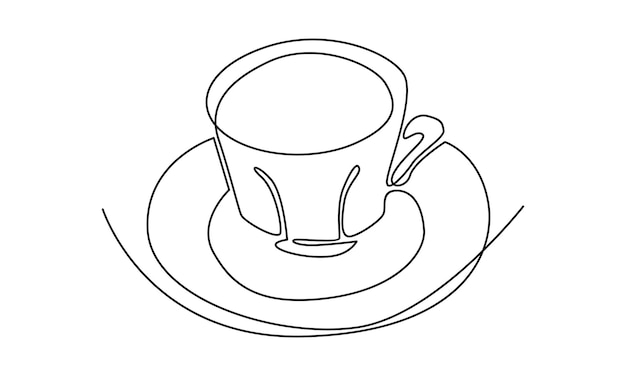 Continuous line of a cup coffee illustration