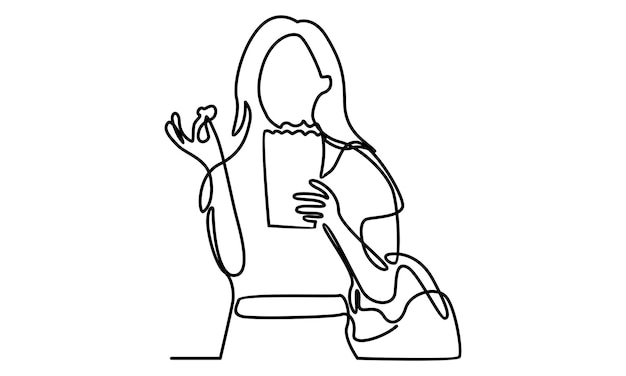 Continuous line of cute girl eating popcorn illustration