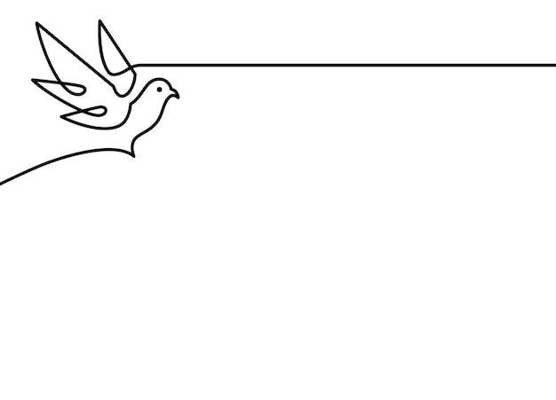 Continuous line dove vector illustration on white background