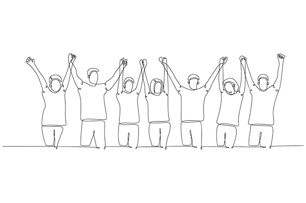 연속 선 그리기 손을 잡고 있는 사람들의 그룹이 제기 선 그리기 벡터 illustrat