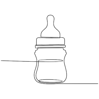 Continuous line drawing of baby milk bottle vector illustration