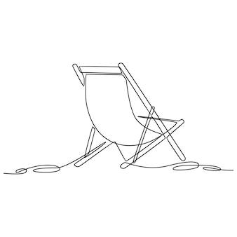 Непрерывный рисунок линии шезлонг летние каникулы концепция векторные иллюстрации