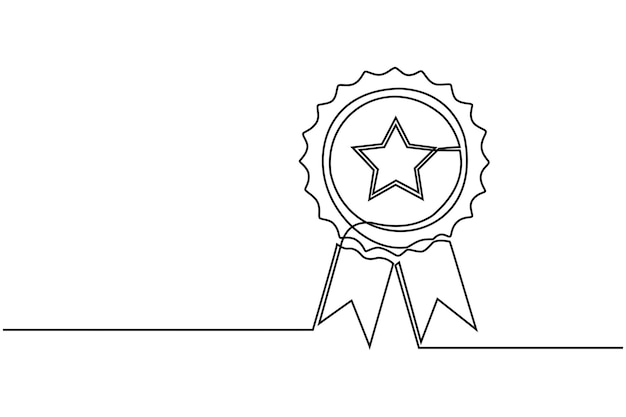 Continuous line drawing of the best quality award badge with gold star winning medal vector