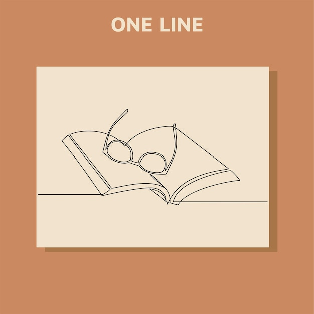 Continuous line drawing of a book and glass