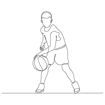 Continuous line drawing of boy professional basketball player isolated with ball fitness concept