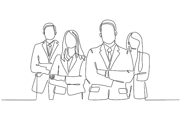 Continuous line drawing of businessman and business woman standing vector illustration