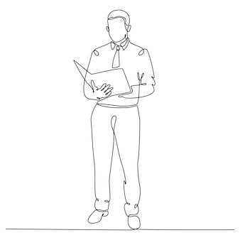 Continuous line drawing of businessman standing reading company document vector illustration
