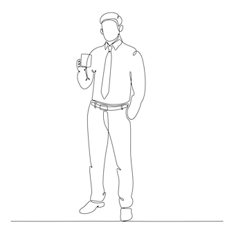 Continuous line drawing of businessman standing with a cup of coffee vector