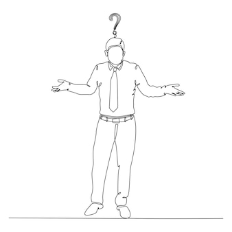 Continuous line drawing of businessman with question mark vector
