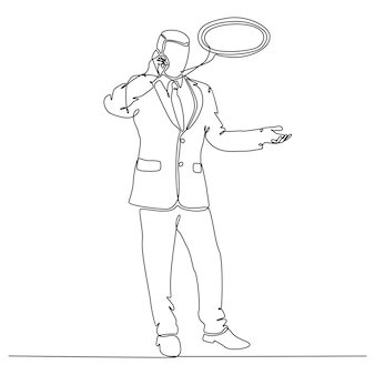 Continuous line drawing businessperson concept communicating vector illustration