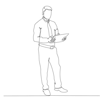 Continuous line drawing of businessperson vector illustration