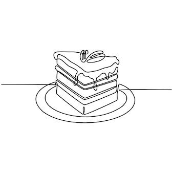 Непрерывная линия рисования торта векторная иллюстрация
