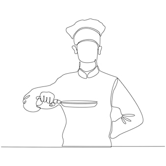 Continuous line drawing of a chef holding a frying pan vector illustration