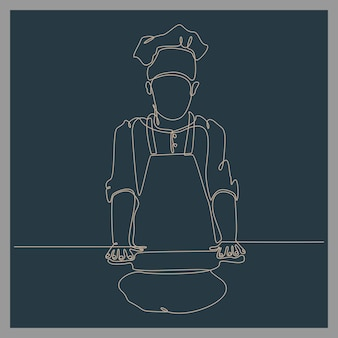 Continuous line drawing of chef making dough vector illustration