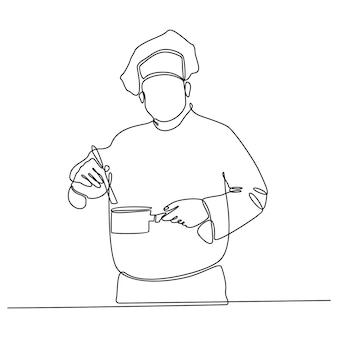 Continuous line drawing of chef tasting food vector