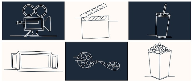 Continuous line drawing cinema icon set vector illustration