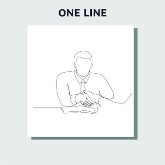 握手と会うビジネスマンの連続線画の概念