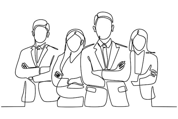 連続線画自信のあるビジネスチームがオフィスのベクトル図に立っています。