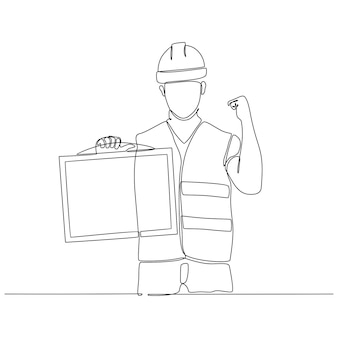 Continuous line drawing of construction worker carrying information board vector illustration