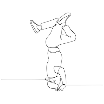 Continuous line drawing of a contemporary hiphop music dancer vector illustration