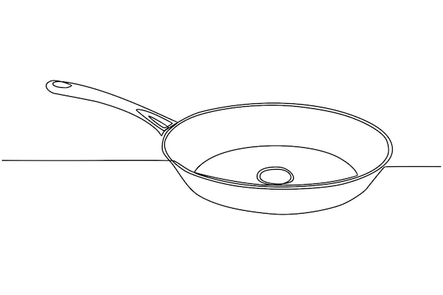 Continuous line drawing of cooking utensil pot vector illustration