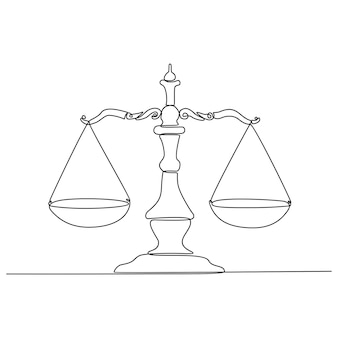 Continuous line drawing of court scales symbol vector illustration