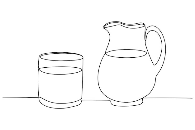 Continuous line drawing of a cup of milk and a glass of milk vector illustration